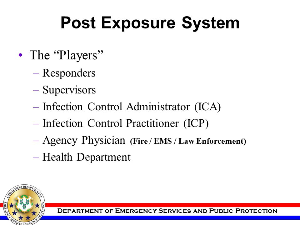 Post Exposure System The Players Responders Supervisors