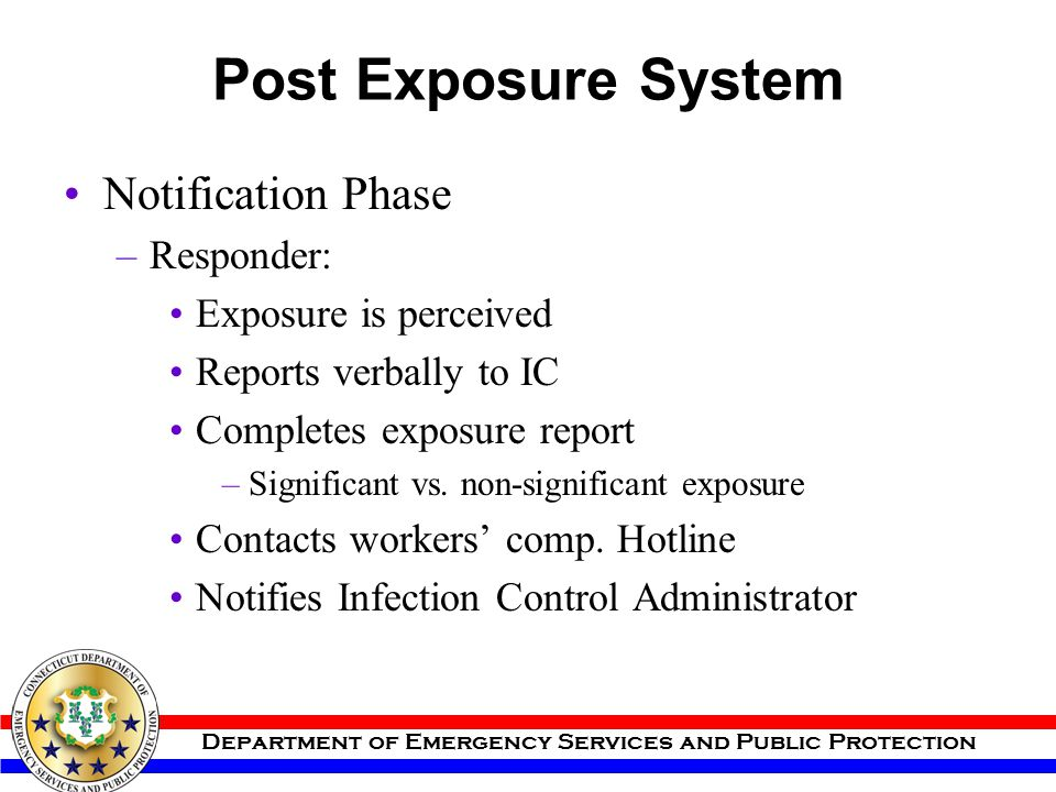 Post Exposure System Notification Phase Responder: