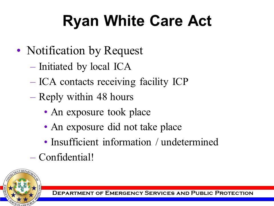 Ryan White Care Act Notification by Request Initiated by local ICA