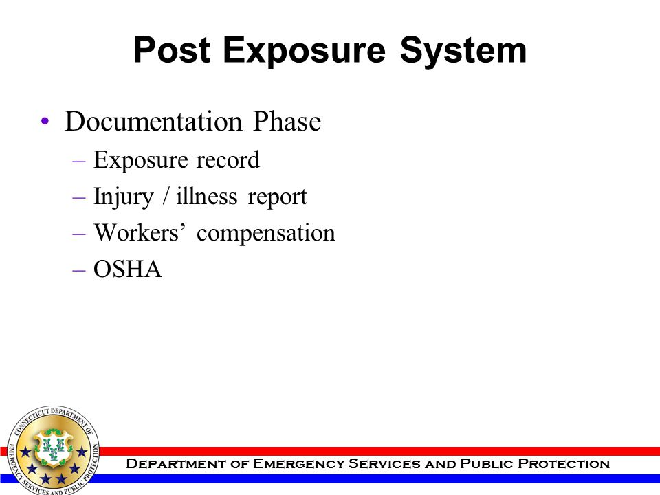 Post Exposure System Documentation Phase Exposure record