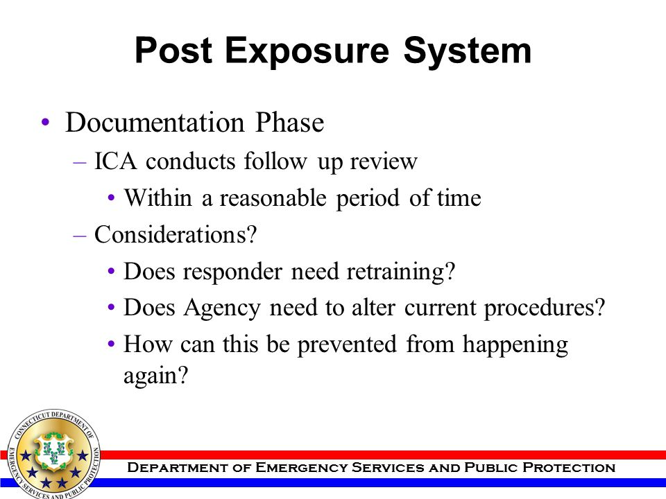 Post Exposure System Documentation Phase ICA conducts follow up review