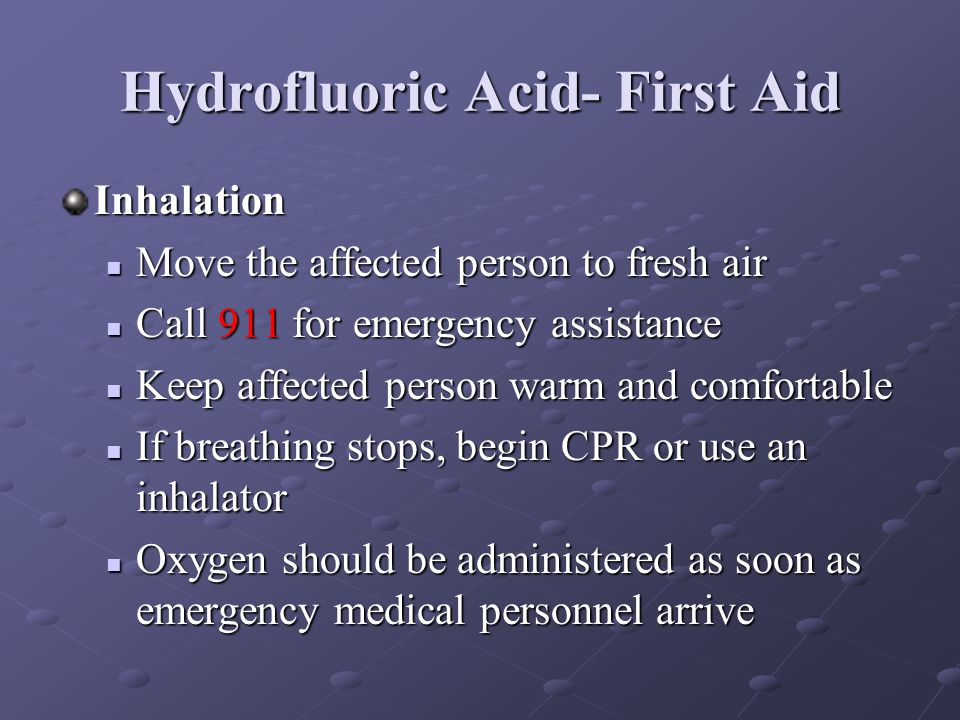 Hydrofluoric Acid- First Aid