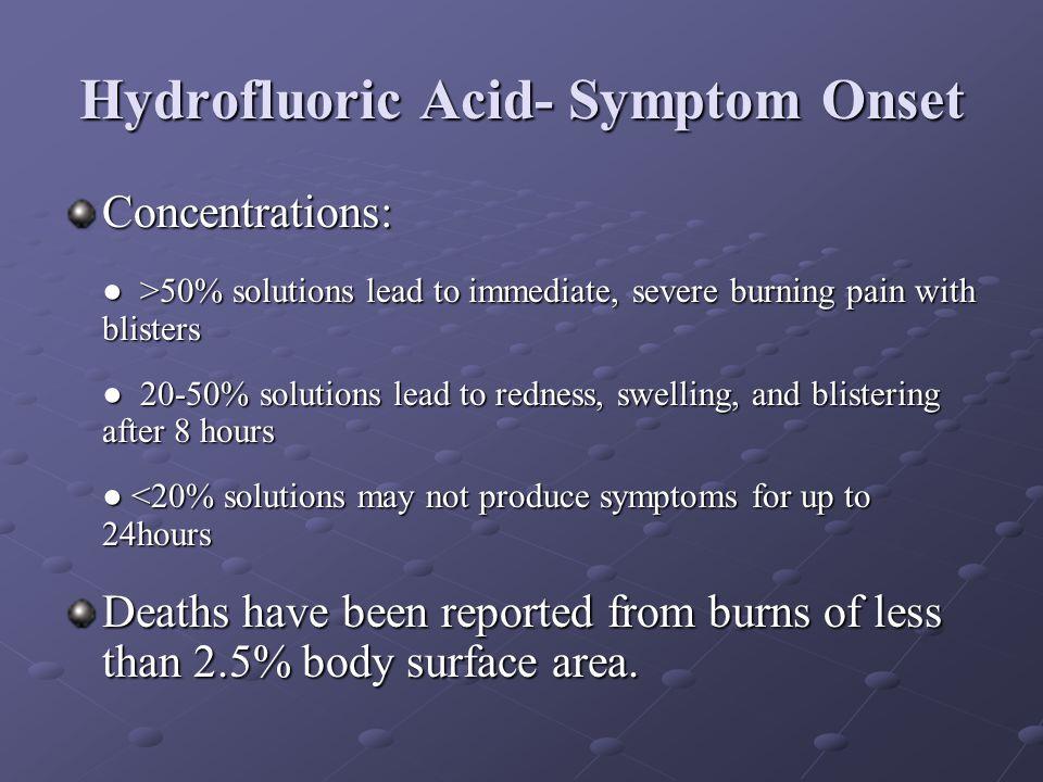 Hydrofluoric Acid- Symptom Onset
