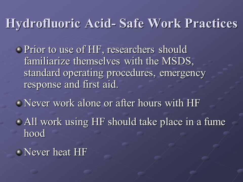Hydrofluoric Acid- Safe Work Practices