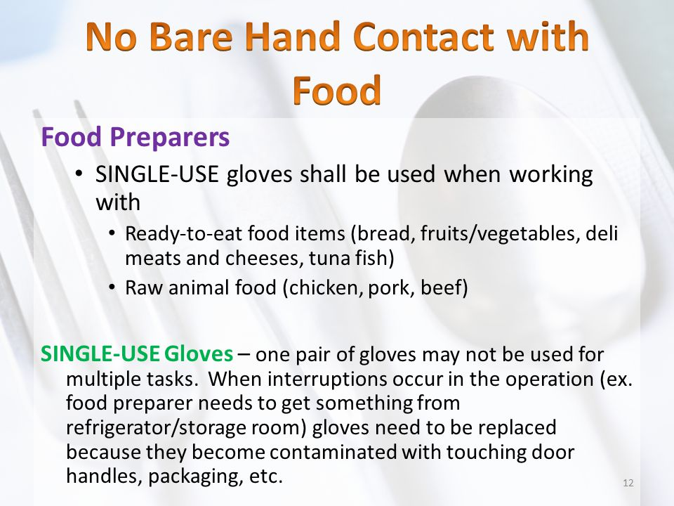No Bare Hand Contact with Food