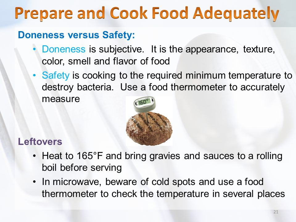 Prepare and Cook Food Adequately