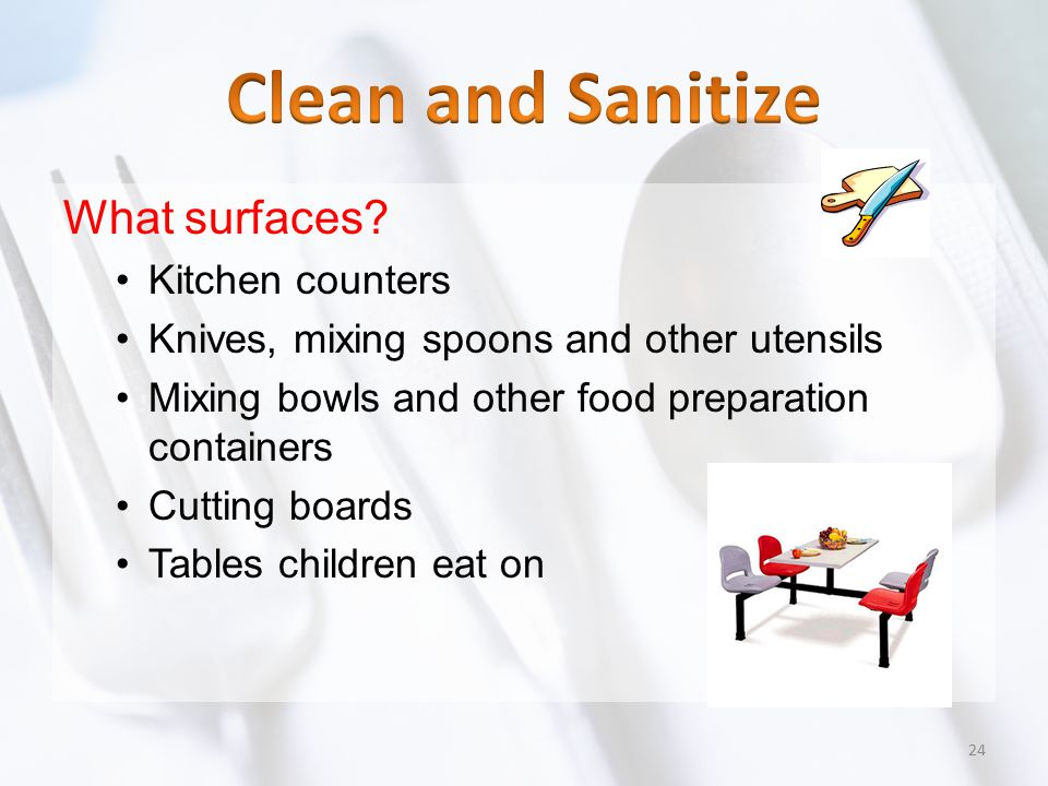 Clean and Sanitize What surfaces Kitchen counters