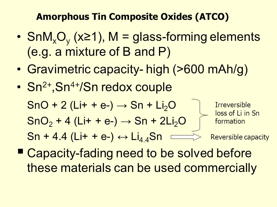 Amorphous Tin Composite Oxides (ATCO)