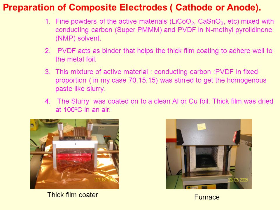 Preparation of Composite Electrodes ( Cathode or Anode).