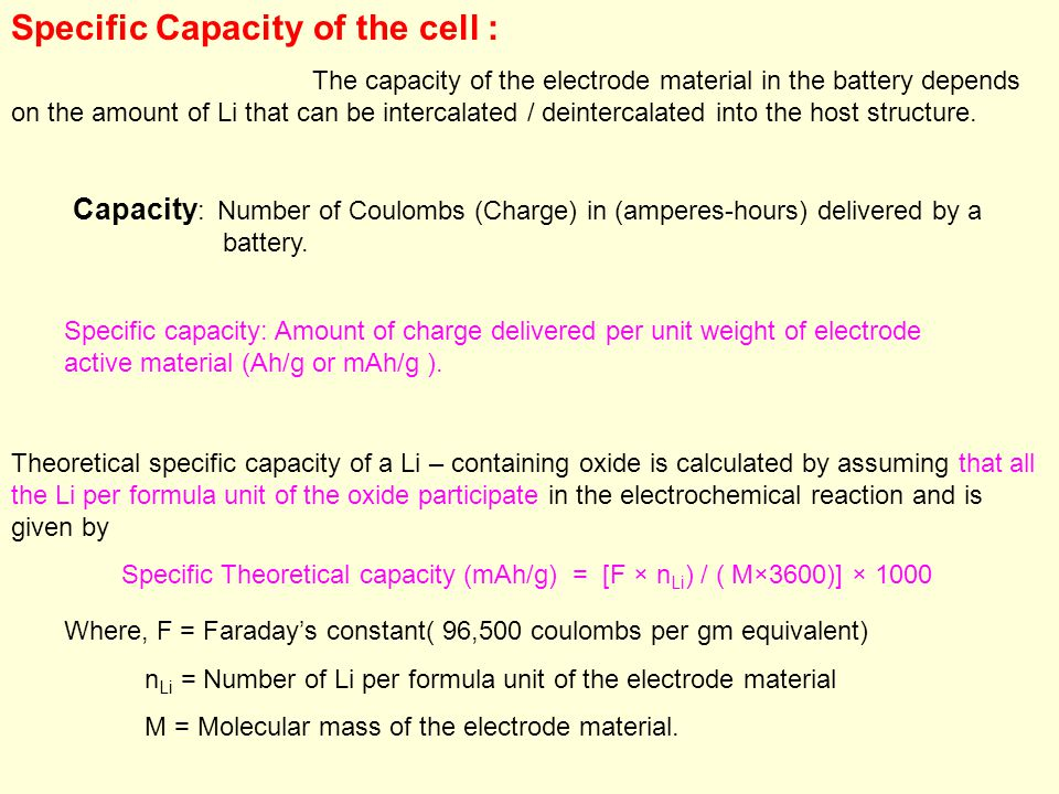 Specific Capacity of the cell :