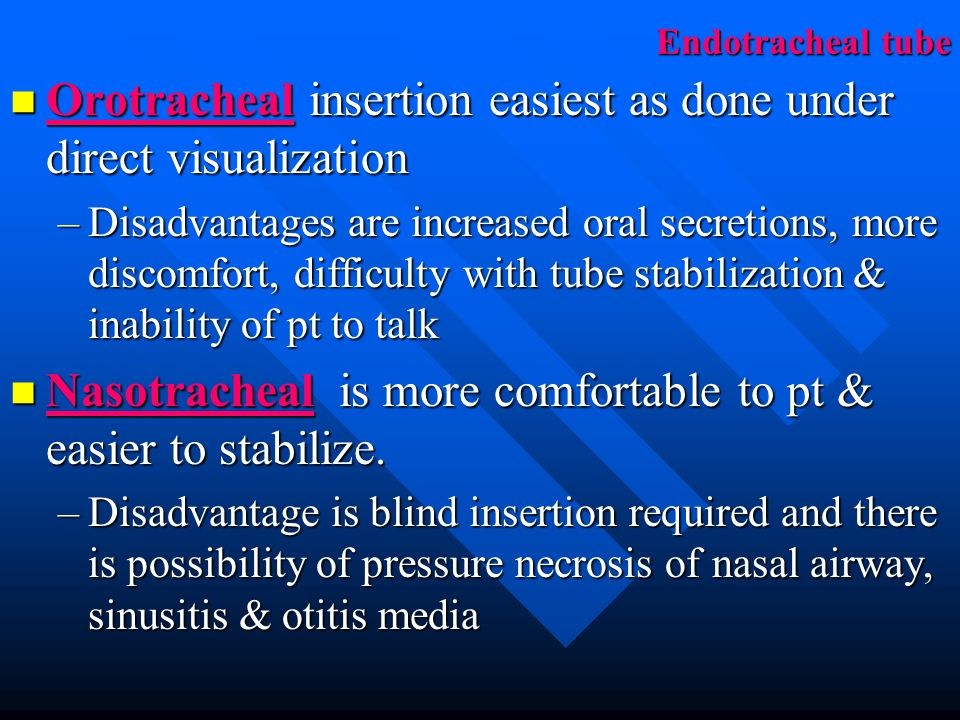 Orotracheal insertion easiest as done under direct visualization
