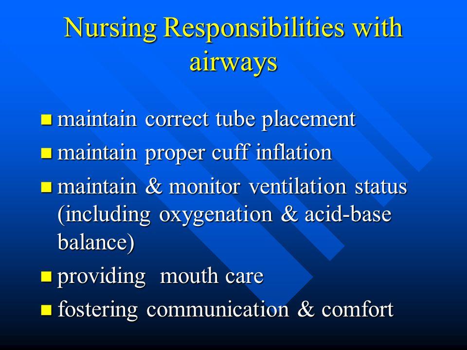 Nursing Responsibilities with airways