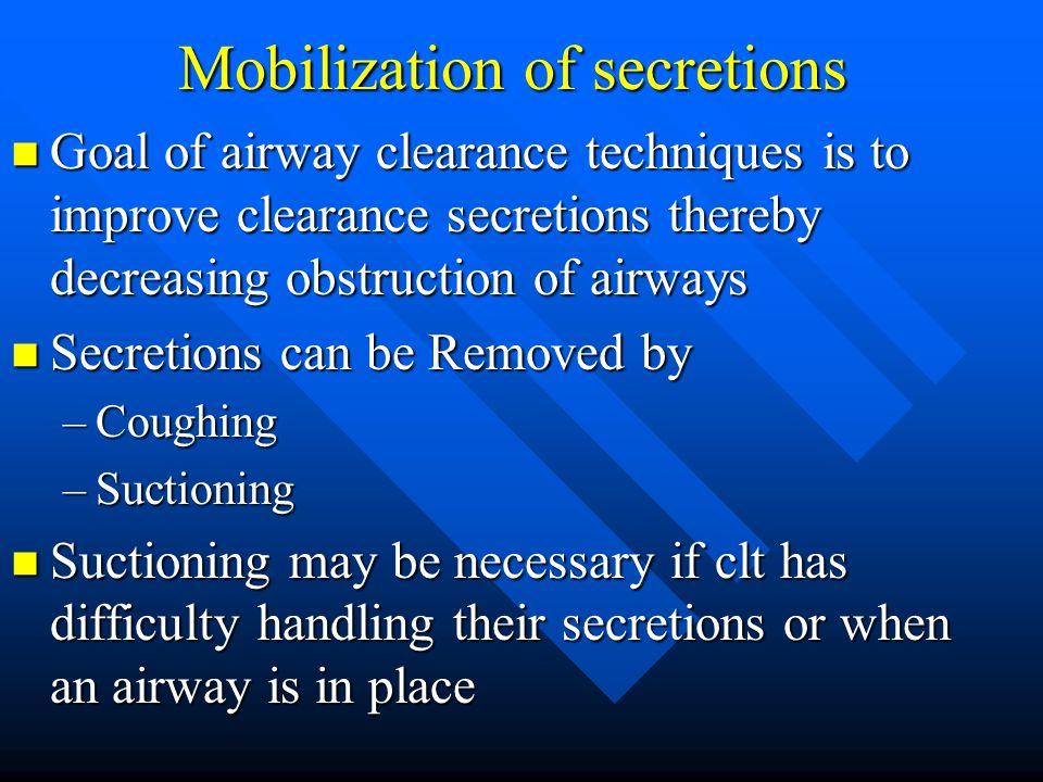 Mobilization of secretions