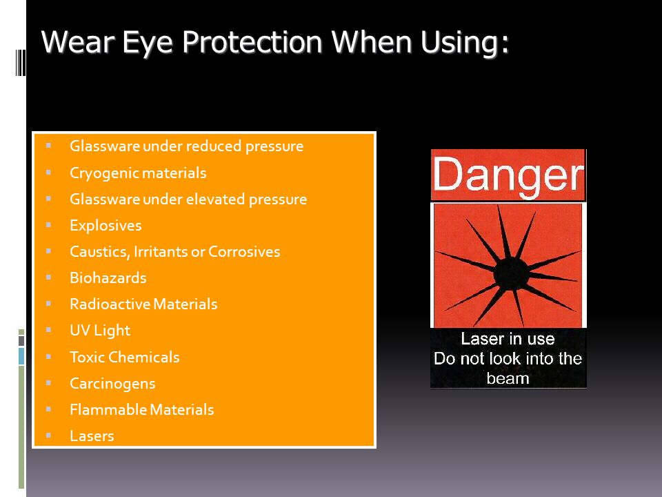 Wear Eye Protection When Using: