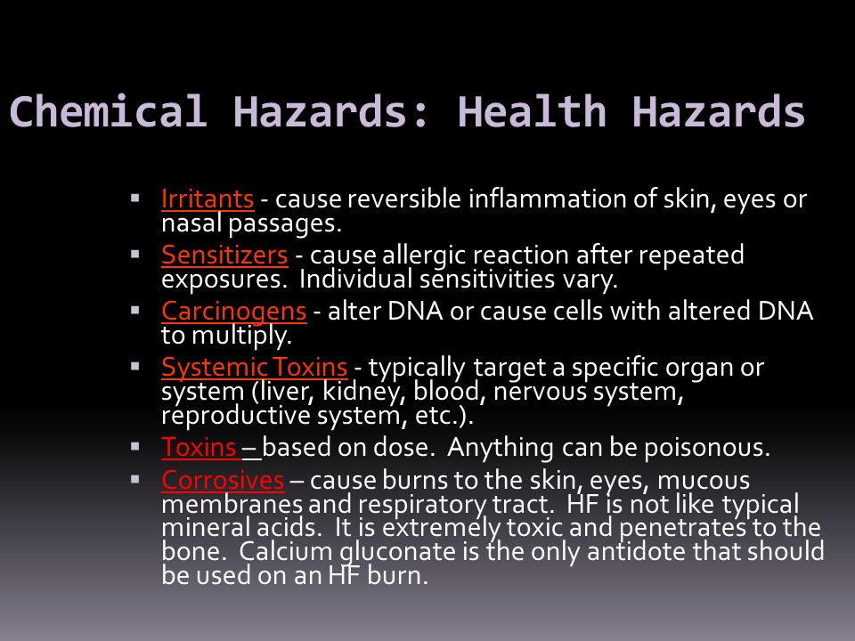 Chemical Hazards: Health Hazards