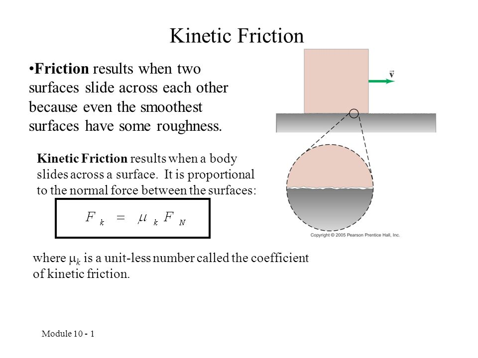 Kinetic Friction Friction results when two surfaces slide across each other because even the smoothest surfaces have some roughness.