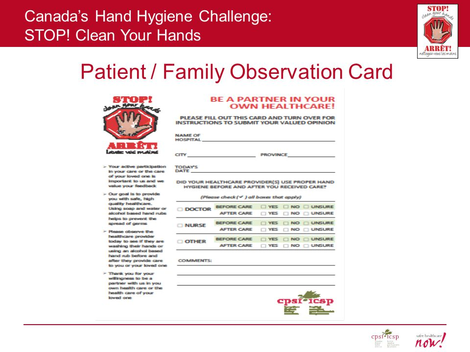 Patient / Family Observation Card