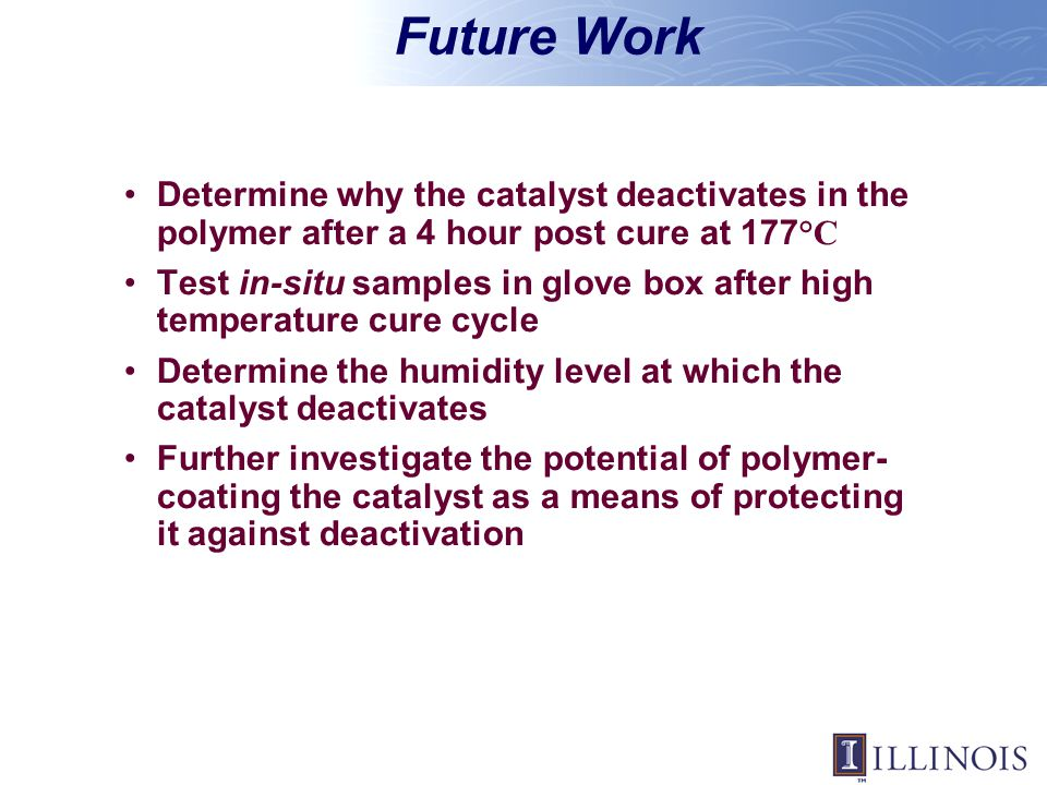 Future Work Determine why the catalyst deactivates in the polymer after a 4 hour post cure at 177°C.