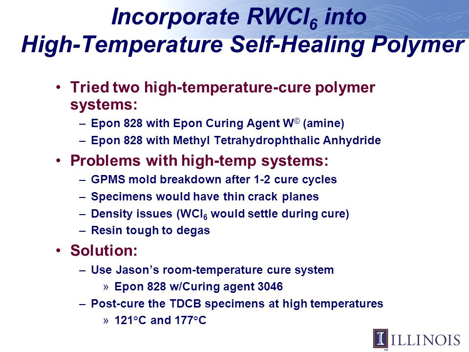 Incorporate RWCl6 into High-Temperature Self-Healing Polymer