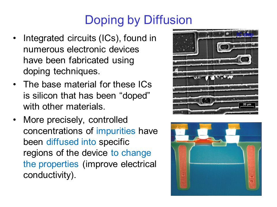 Doping by Diffusion Integrated circuits (ICs), found in numerous electronic devices have been fabricated using doping techniques.