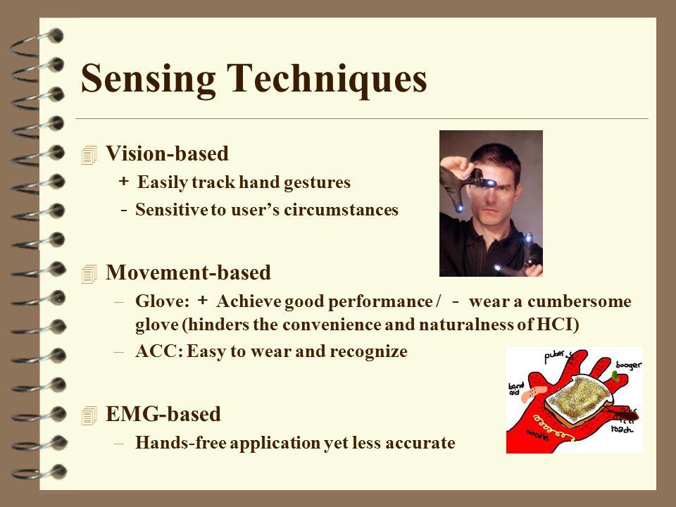 Sensing Techniques Vision-based Movement-based EMG-based