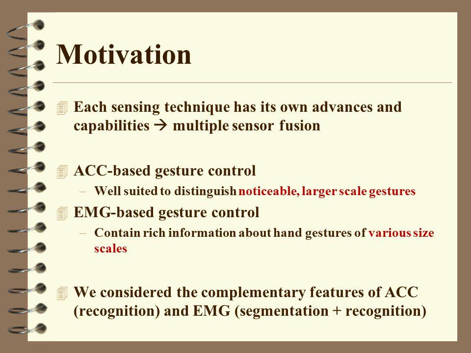 Motivation Each sensing technique has its own advances and capabilities  multiple sensor fusion. ACC-based gesture control.