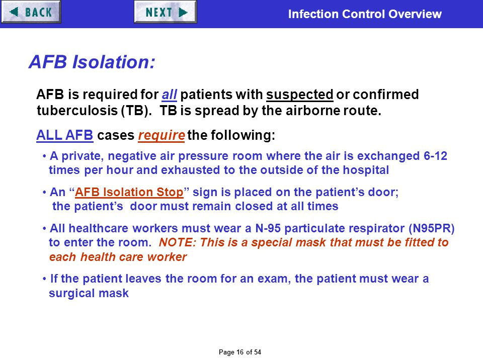 AFB Isolation: AFB is required for all patients with suspected or confirmed. tuberculosis (TB). TB is spread by the airborne route.