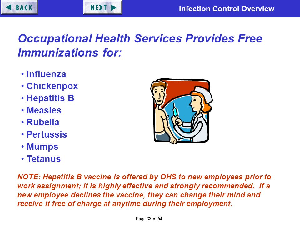 Occupational Health Services Provides Free Immunizations for: