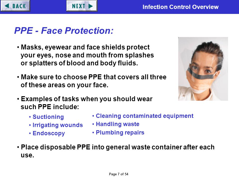 PPE - Face Protection: Masks, eyewear and face shields protect