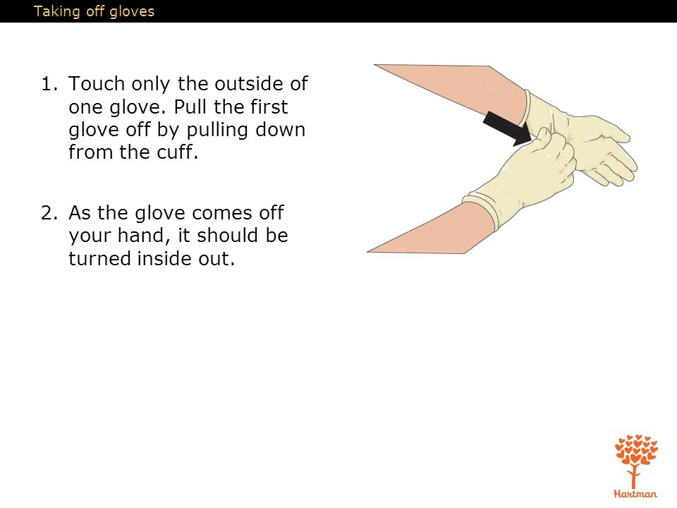 As the glove comes off your hand, it should be turned inside out.
