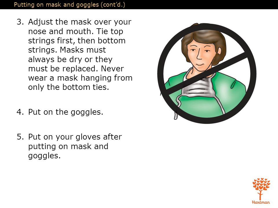 Putting on mask and goggles (cont'd.)