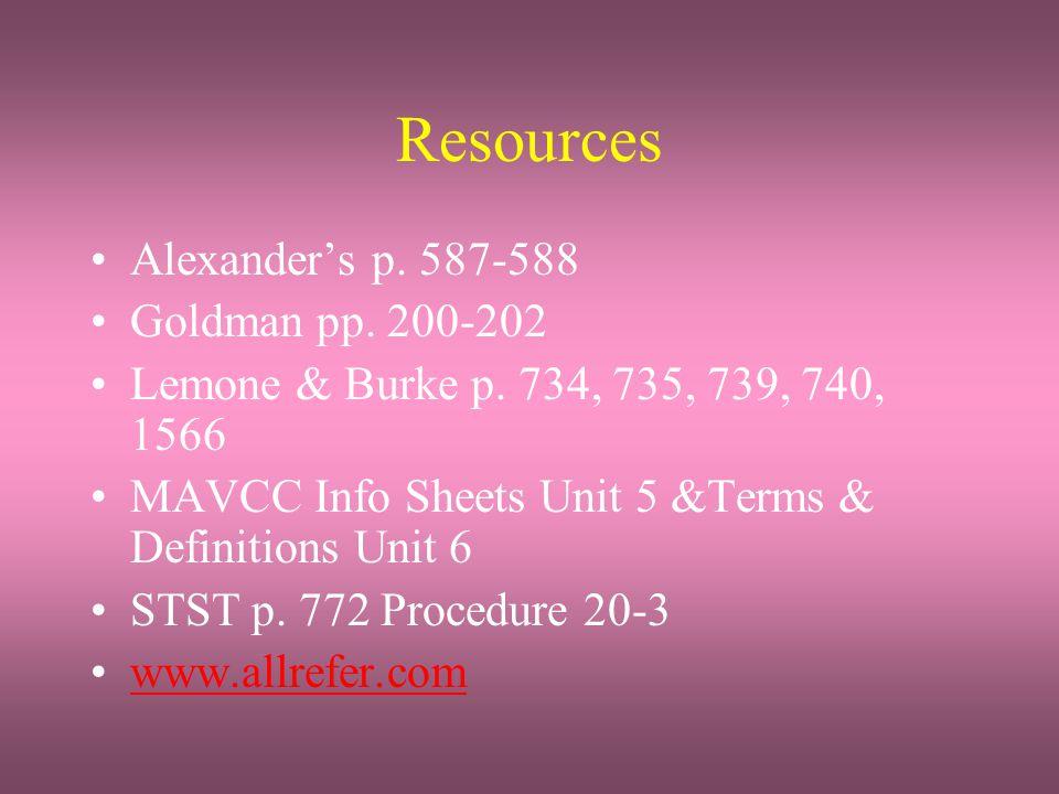 Resources Alexander's p. 587-588 Goldman pp. 200-202