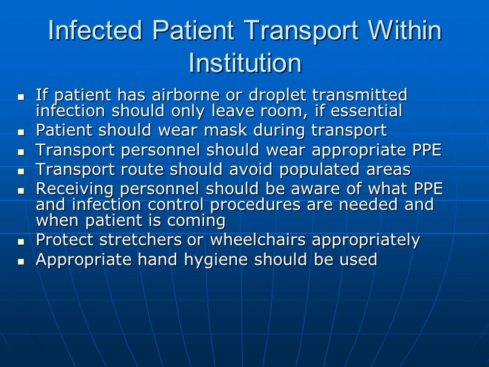 Infected Patient Transport Within Institution