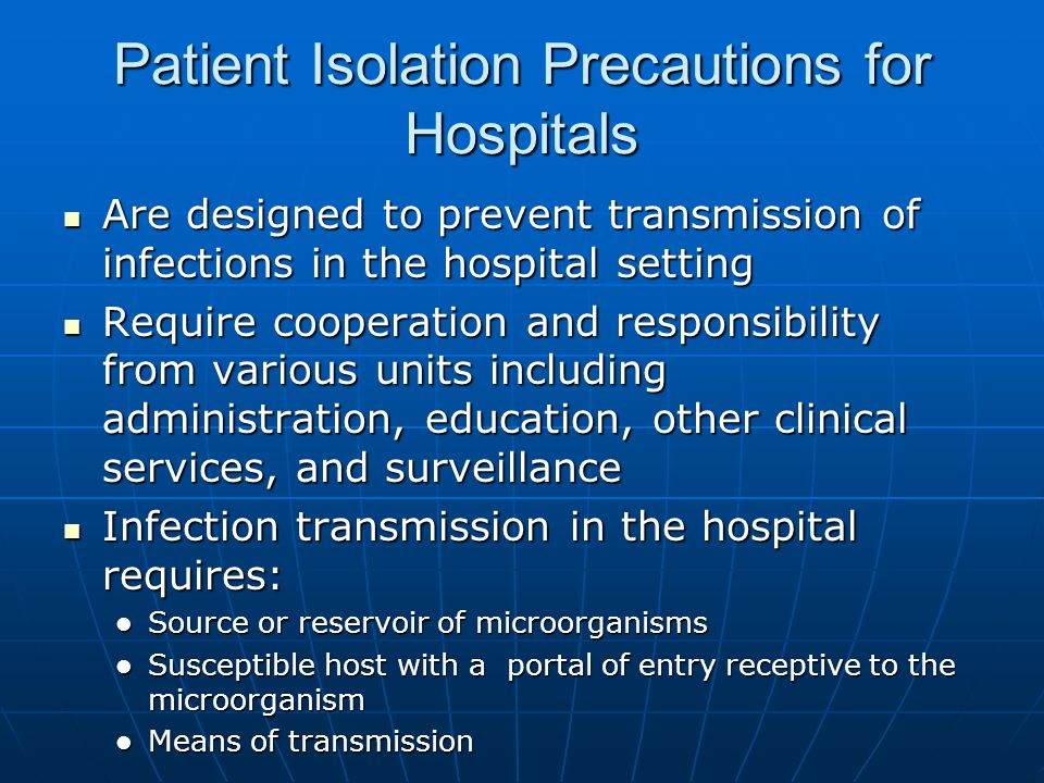 Patient Isolation Precautions for Hospitals