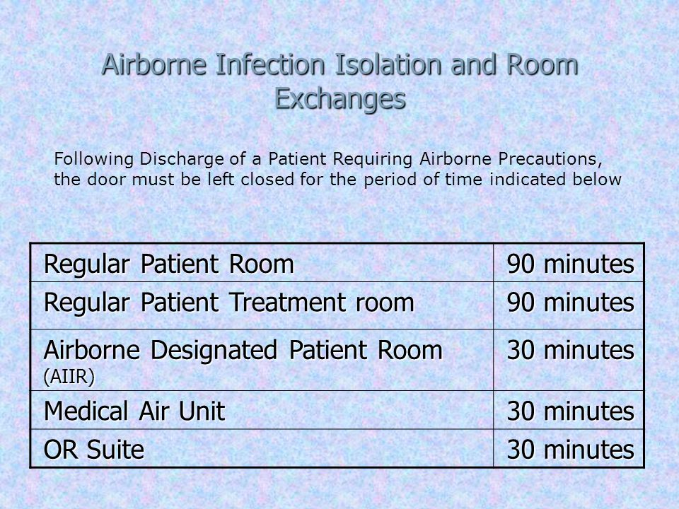 Airborne Infection Isolation and Room Exchanges