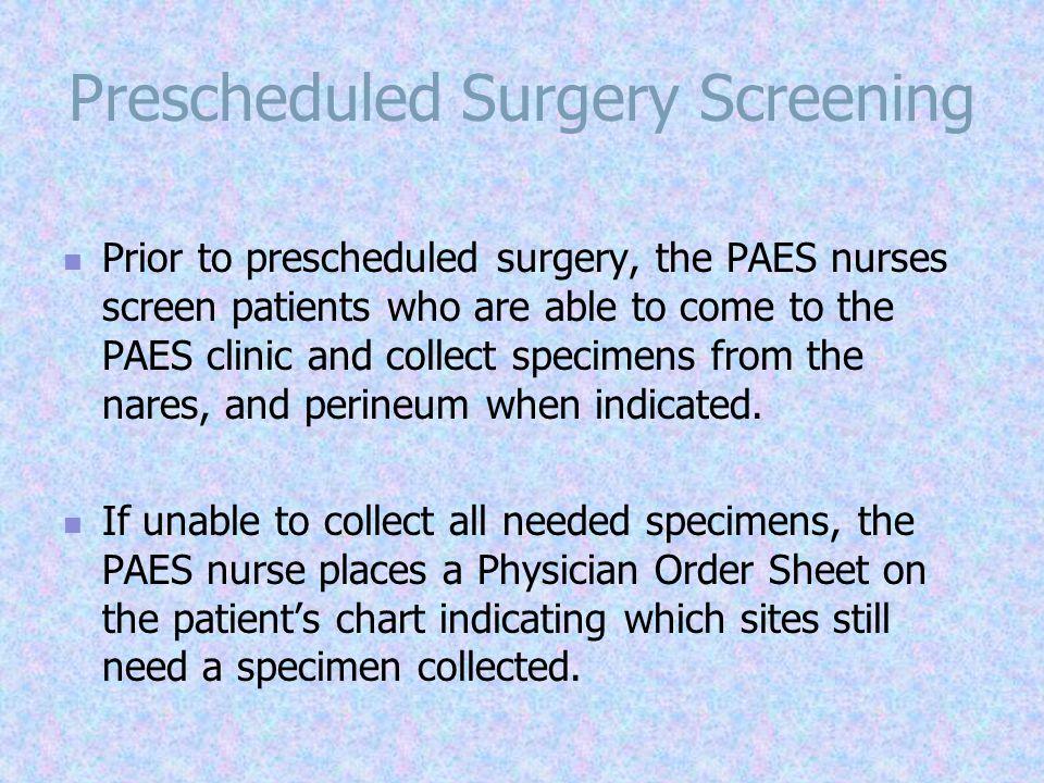 Prescheduled Surgery Screening