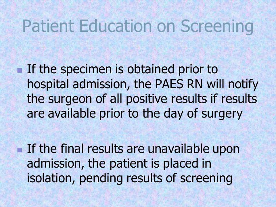 Patient Education on Screening