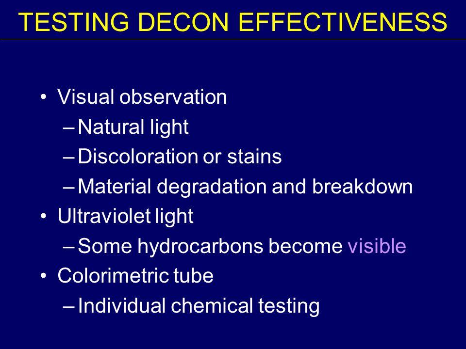 TESTING DECON EFFECTIVENESS