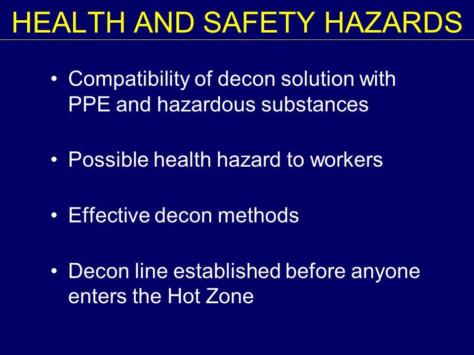 HEALTH AND SAFETY HAZARDS