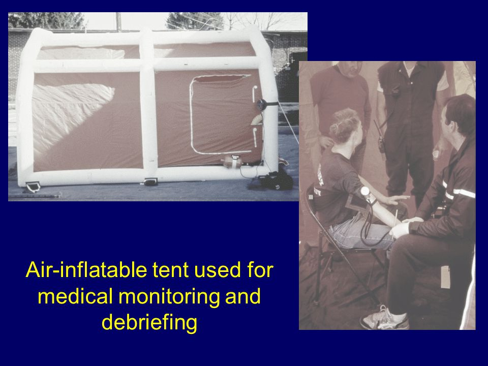 Air-inflatable tent used for medical monitoring and debriefing
