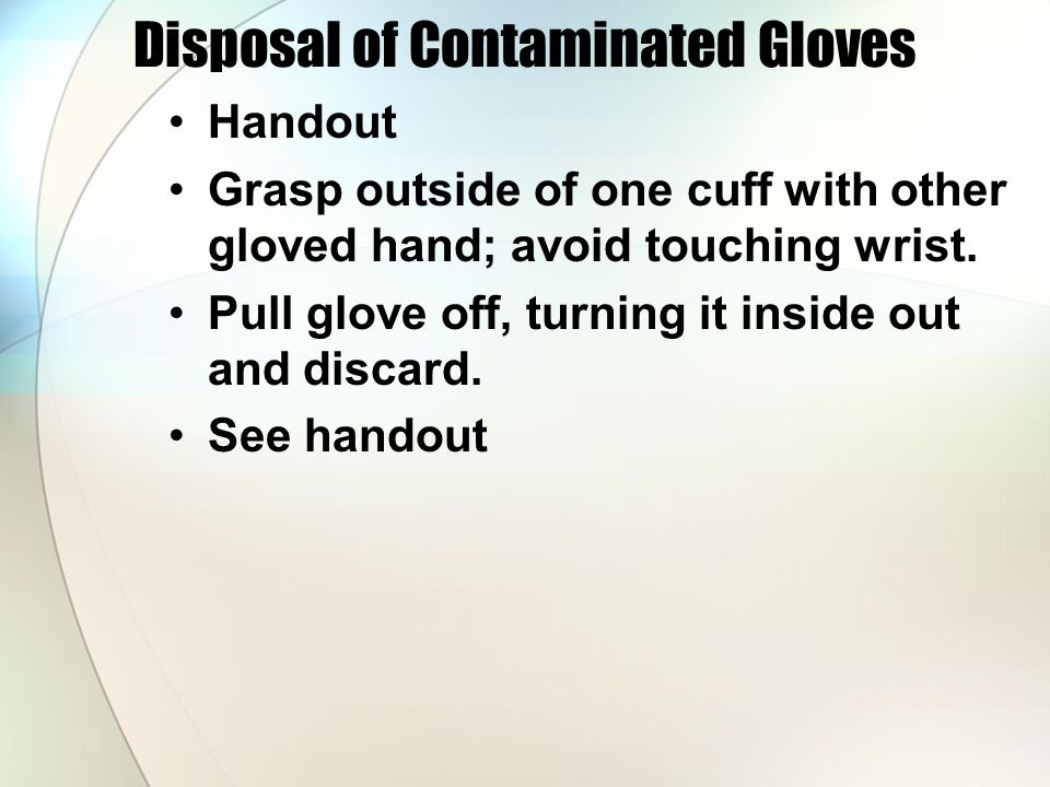 Disposal of Contaminated Gloves