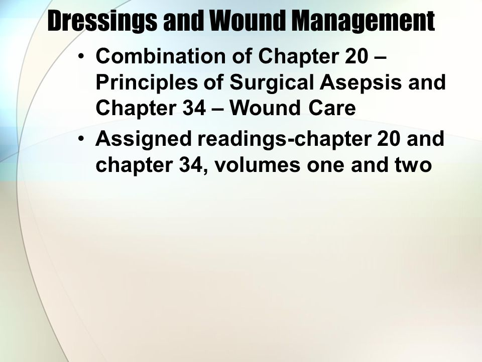 Dressings and Wound Management