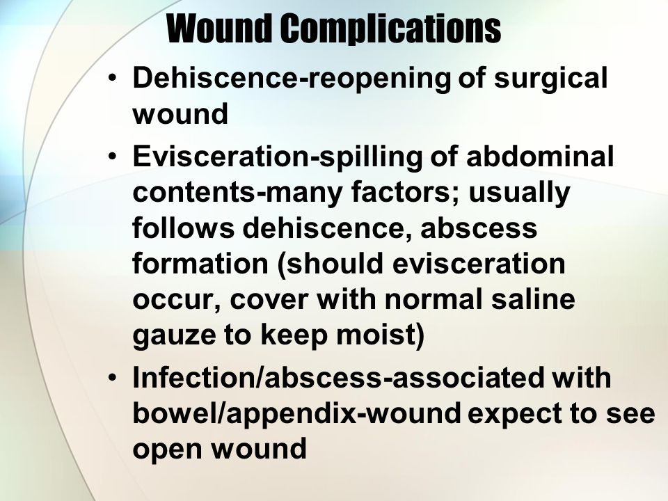 Wound Complications Dehiscence-reopening of surgical wound