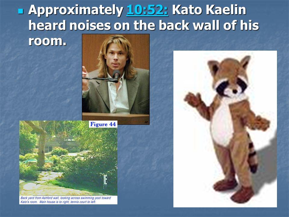 Approximately 10:52: Kato Kaelin heard noises on the back wall of his room.