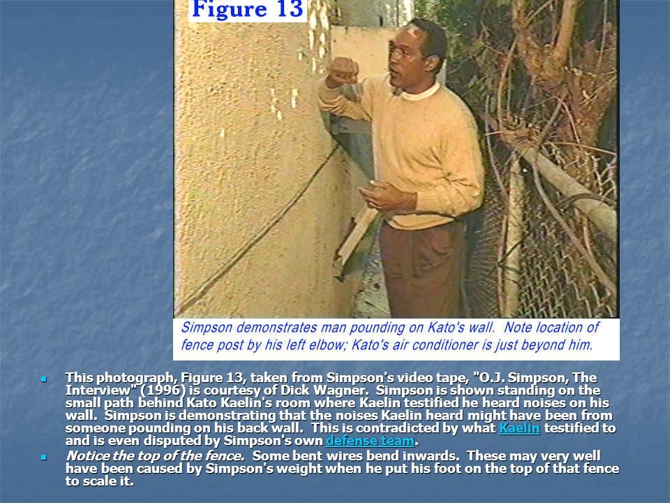 This photograph, Figure 13, taken from Simpson s video tape, O. J