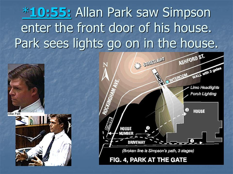 10:55: Allan Park saw Simpson enter the front door of his house