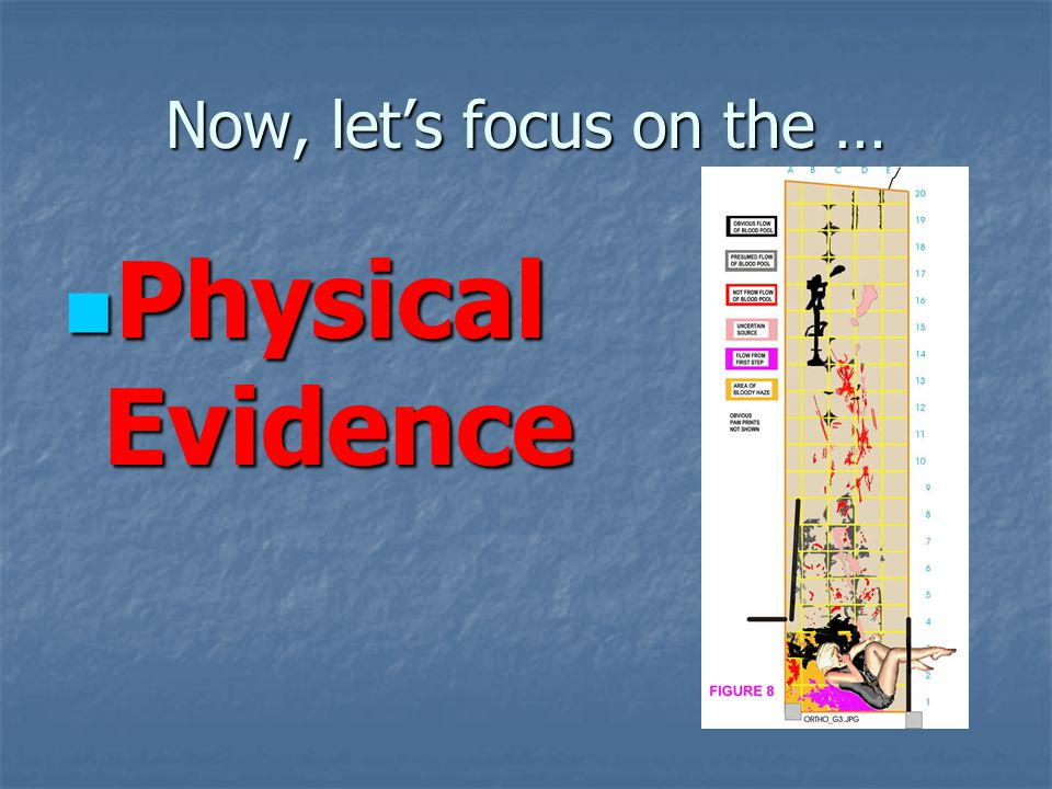 Now, let's focus on the … Physical Evidence