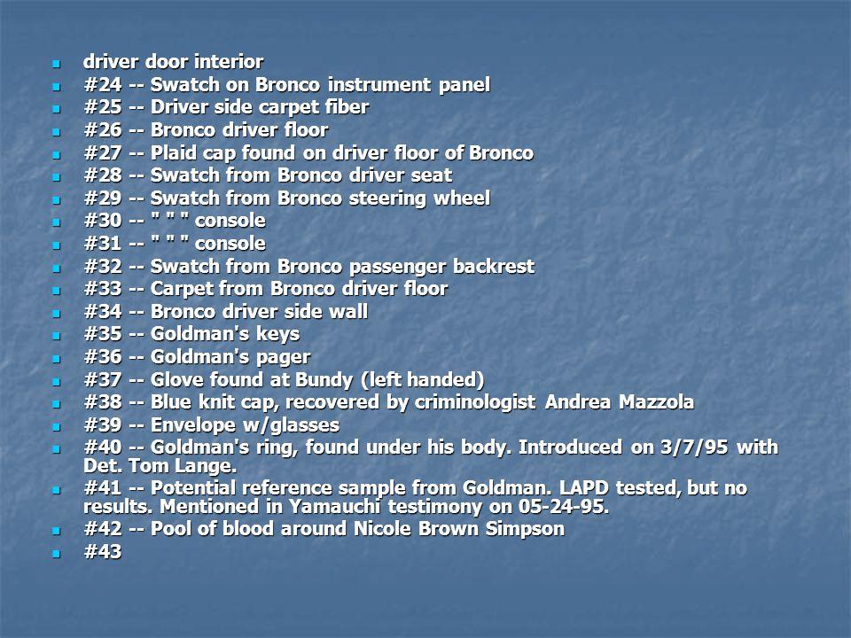 driver door interior #24 -- Swatch on Bronco instrument panel. #25 -- Driver side carpet fiber. #26 -- Bronco driver floor.