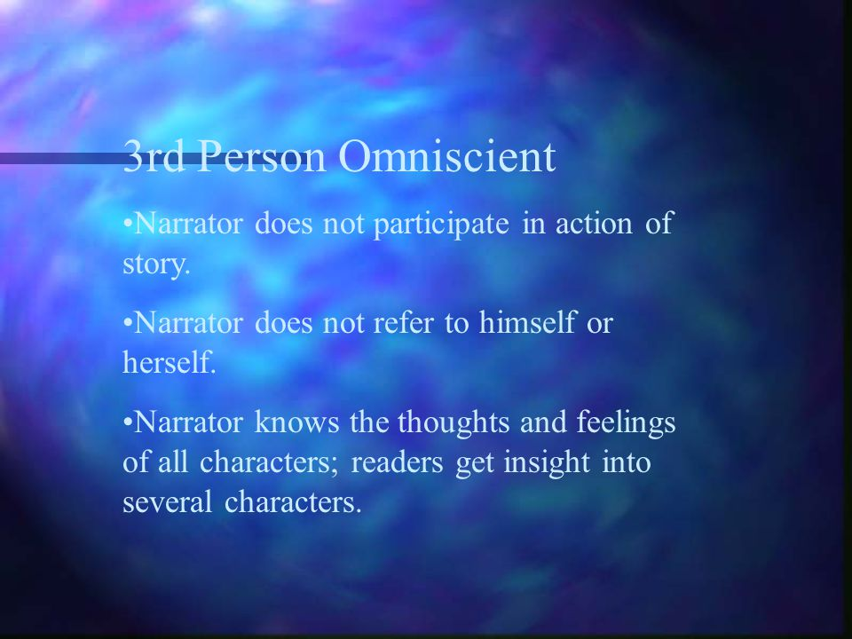 3rd Person Omniscient Narrator does not participate in action of story. Narrator does not refer to himself or herself.