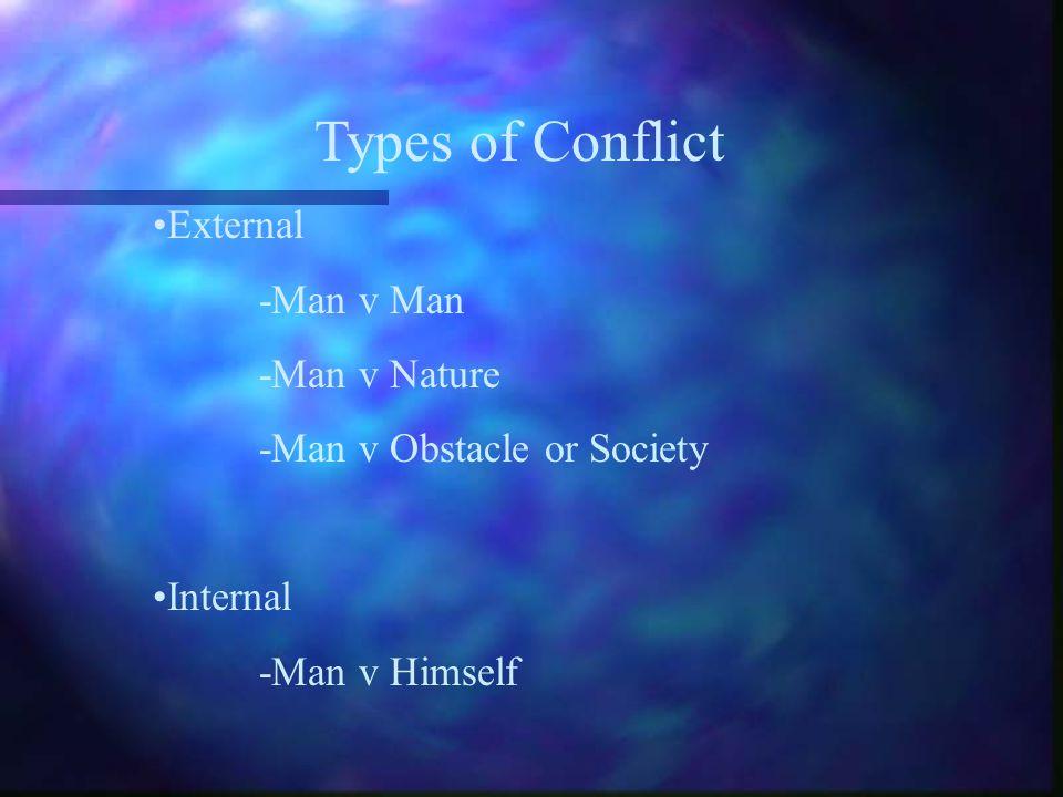 Types of Conflict External -Man v Man -Man v Nature